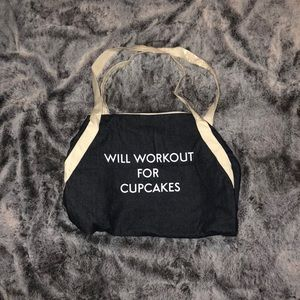 Will workout for cupcakes denim duffel bag